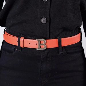 """Bally Red Leather Silver """"B"""" Belt Size 34/85"""